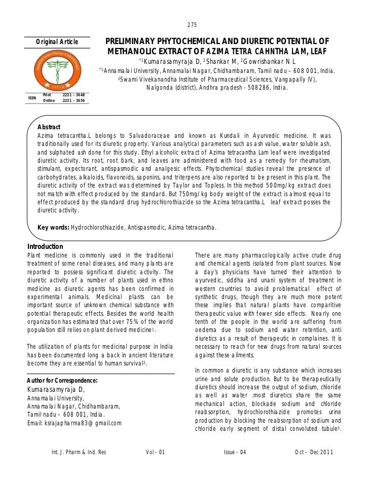 275   Original Article                 PRELIMINARY PHYTOCHEMICAL AND DIURETIC POTENTIAL OF                                ...