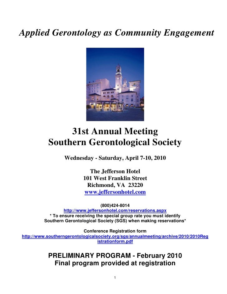 Applied Gerontology as Community Engagement                     31st Annual Meeting            Southern Gerontological Soc...