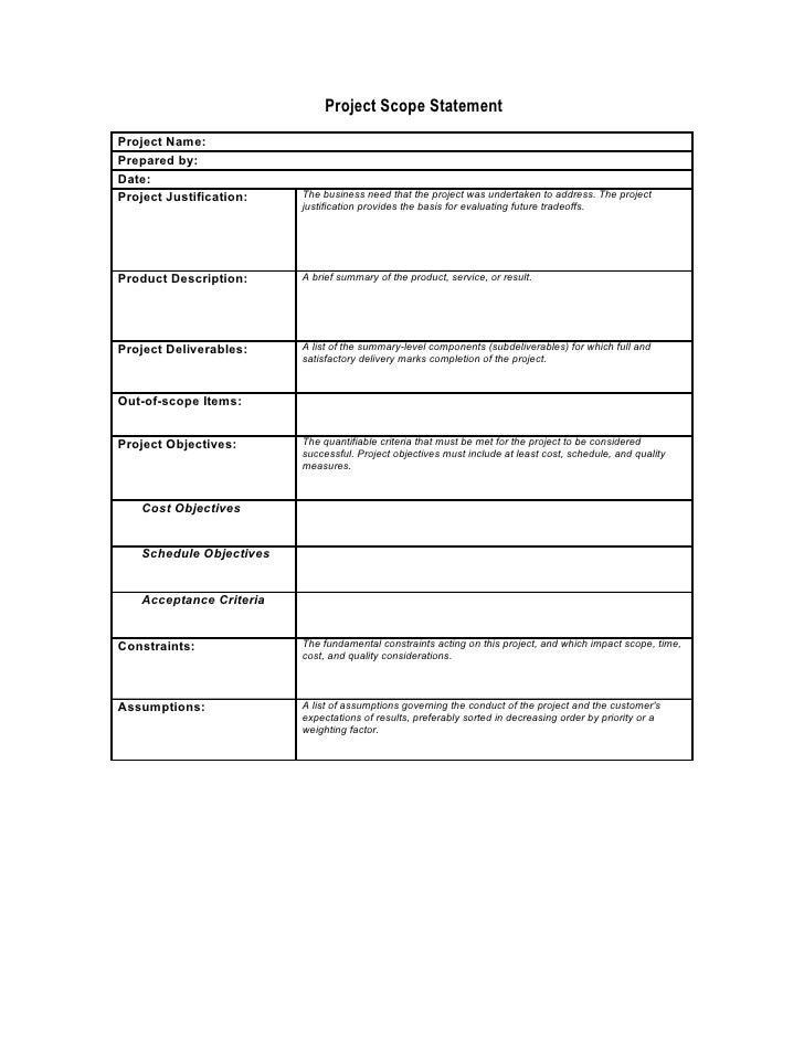 Preliminary scope statement template for Marketing scope of work template