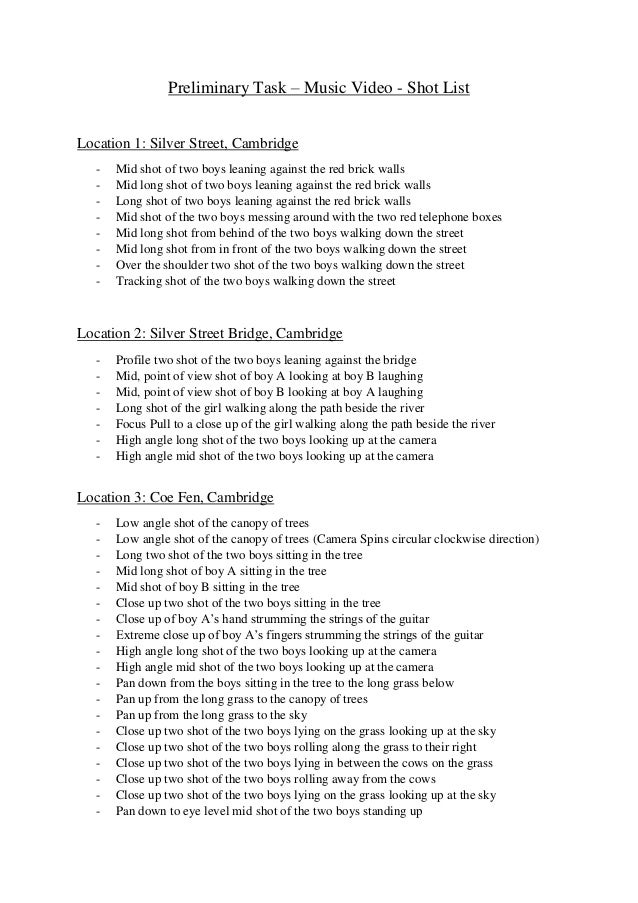 Preliminary Task Shot List