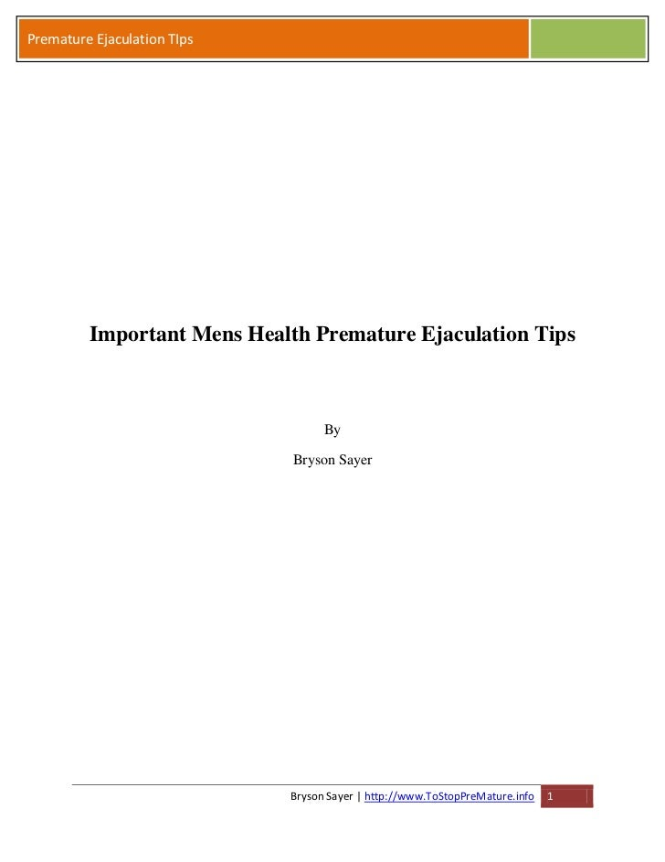 Important Mens Health Premature Ejaculation Tips in Private