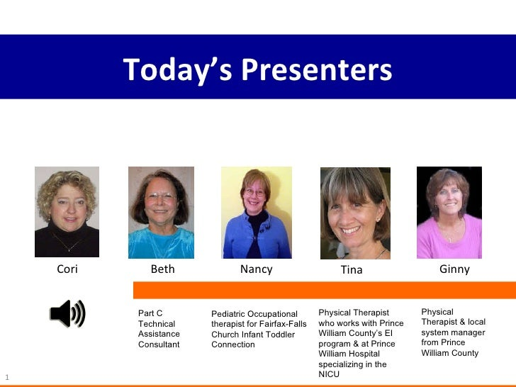 Today's Presenters Cori Beth Nancy Tina Ginny Part C Technical Assistance Consultant Pediatric Occupational therapist for ...