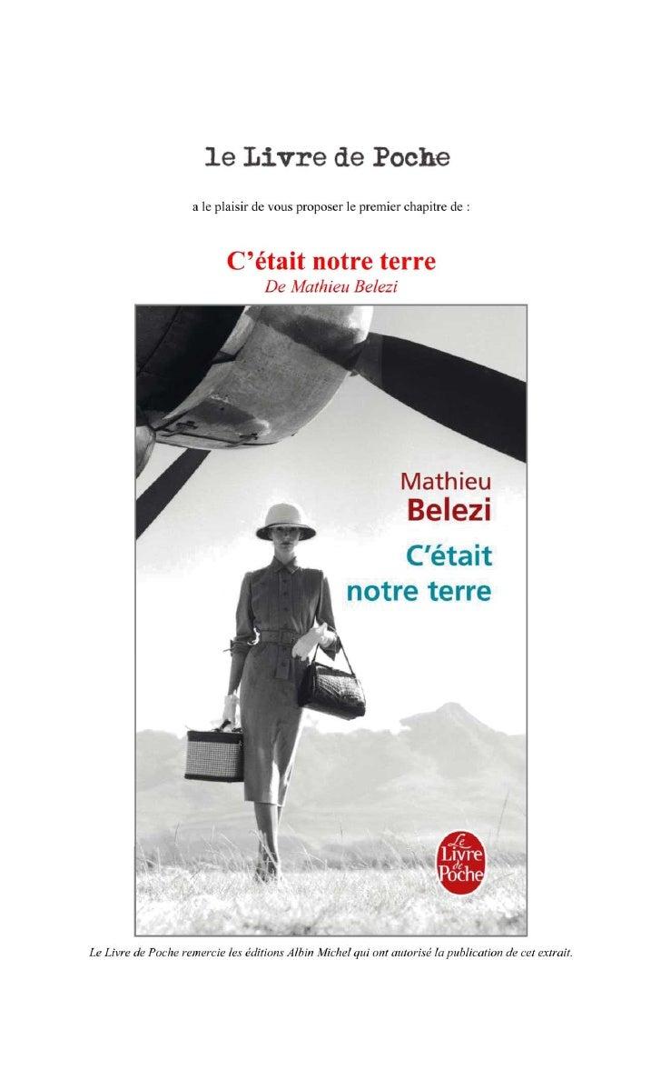 Premier chapitre de C'était notre de Terre de Mathieu Belezi
