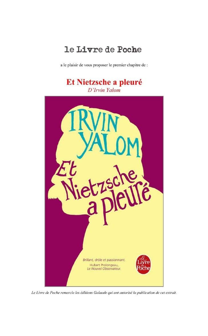 """Premier chapitre de """"Et Nietzsche a pleuré"""" de Irvin Yalom"""
