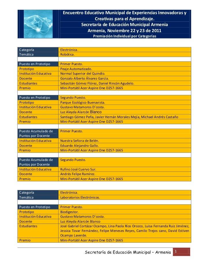 Encuentro Educativo Municipal de Experiencias Innovadoras y                                       Creativas para el Aprend...
