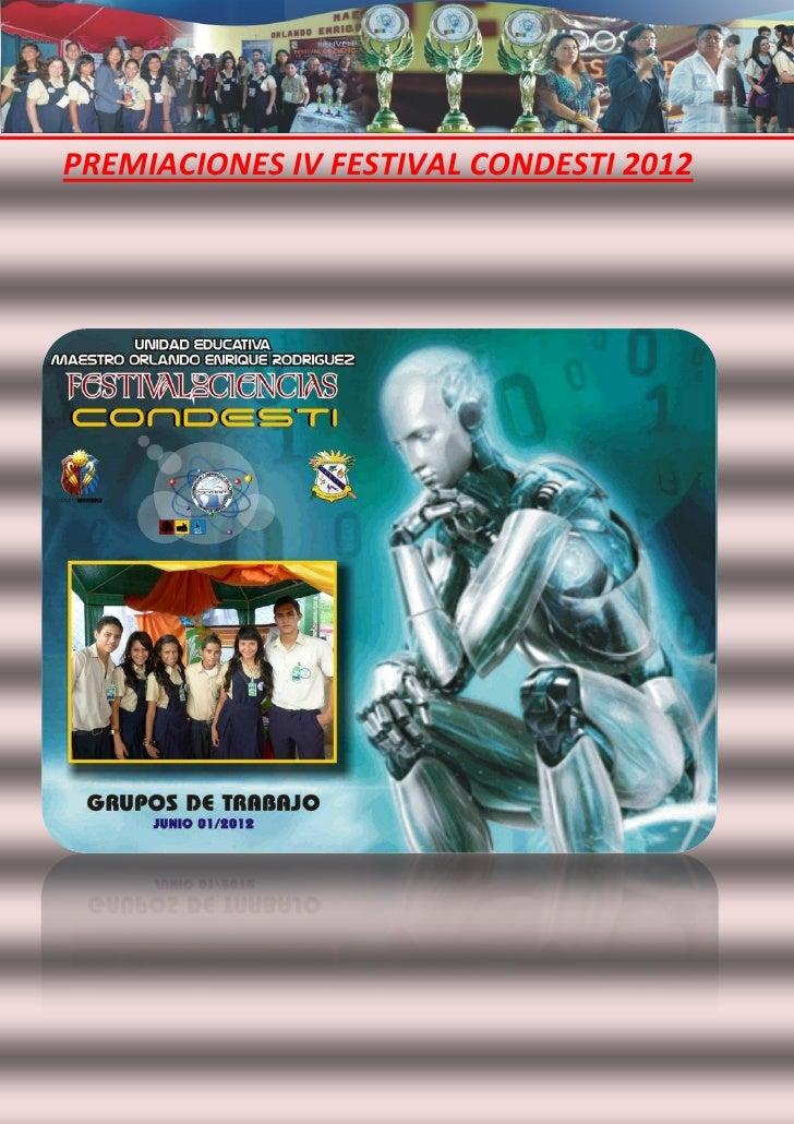 PREMIACIONES IV FESTIVAL CONDESTI 2012