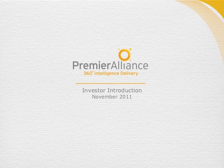 Premier Alliance Group, Inc. (OTC.BB: PIMO), November 2011