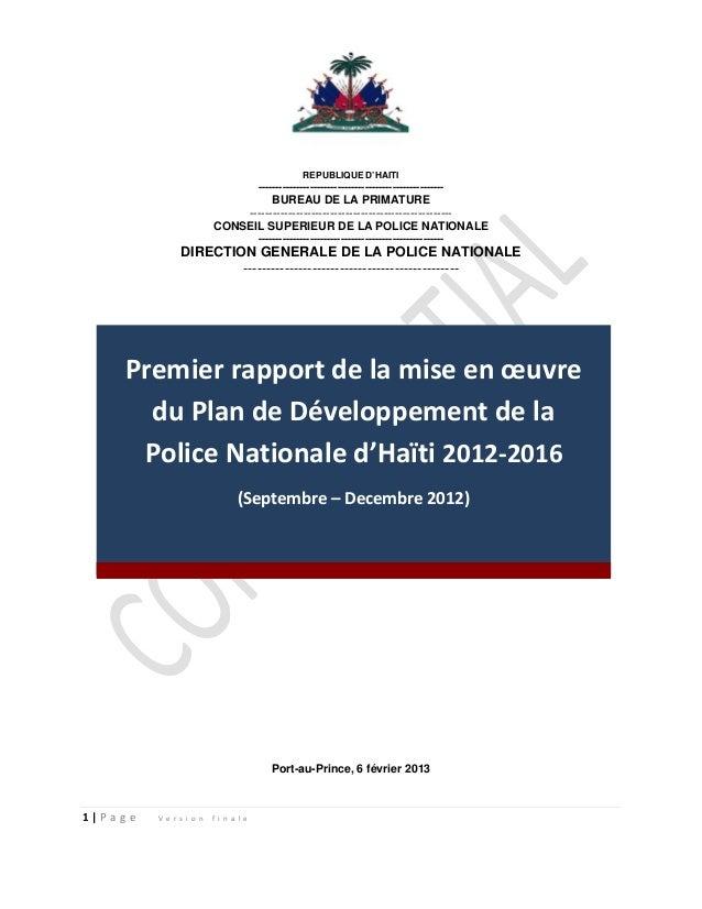 Premier rapport de la mise en oeuvre plan de dvpt pnh 2012 2016 6feb2013