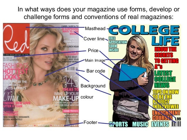 Masthead Main Image Cover line Price Bar code Footer Background colour In what ways does your magazine use forms, develop ...