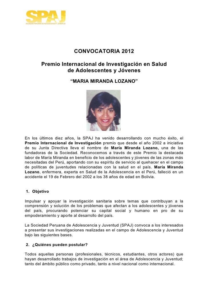 CONVOCATORIA 2012        Premio Internacional de Investigación en Salud                 de Adolescentes y Jóvenes         ...