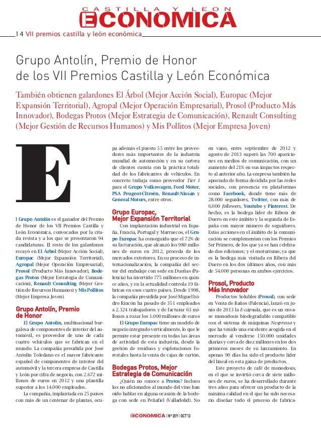 14 VII premios castilla y león económica  Grupo Antolín, Premio de Honor de los VII Premios Castilla y León Económica Tamb...