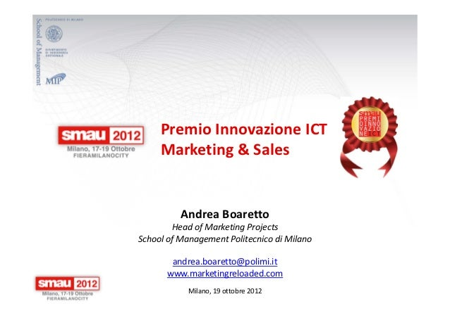 Premio Smau Innovazione ICT nel Marketing & Sales 2012