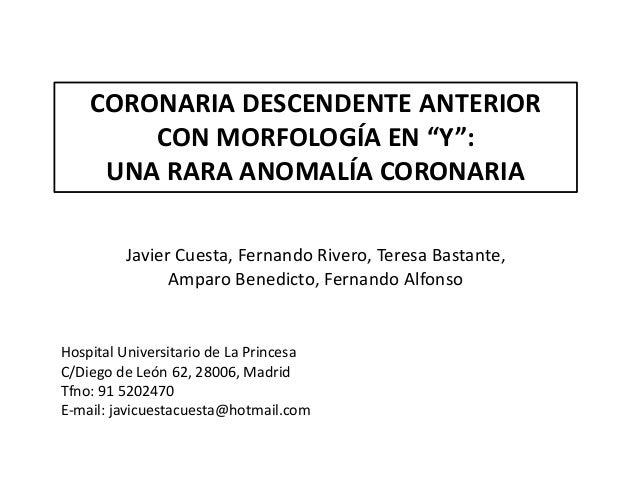 """CORONARIA DESCENDENTE ANTERIOR CON MORFOLOGÍA EN """"Y"""": UNA RARA ANOMALÍA CORONARIA Javier Cuesta, Fernando Rivero, Teresa B..."""