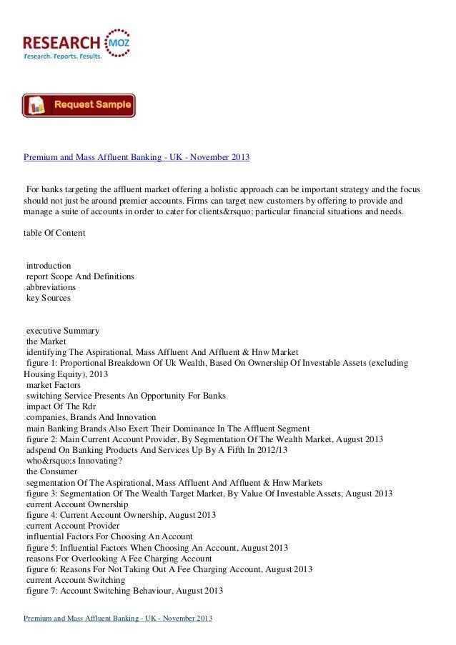 Premium and mass affluent banking   uk - november 2013