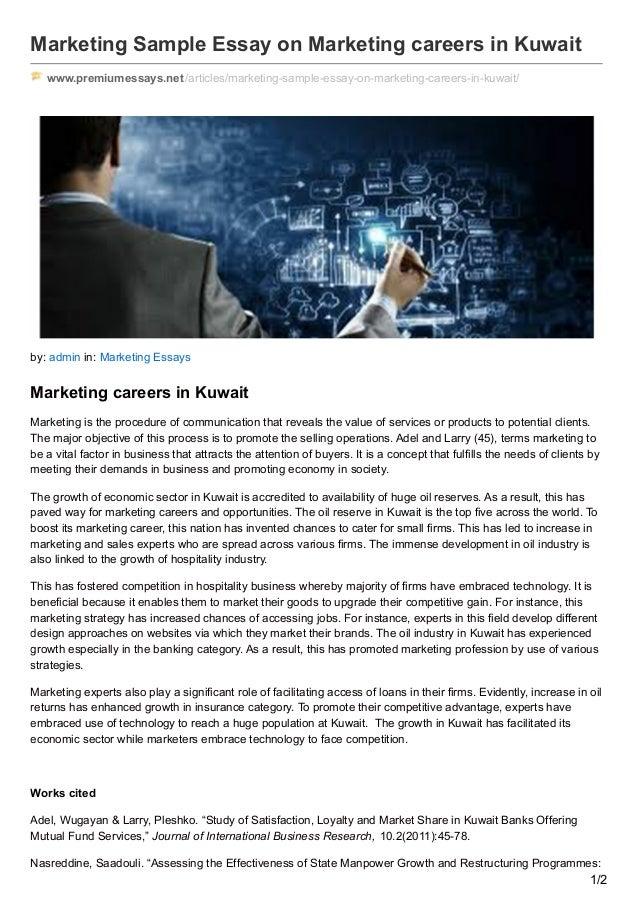 marketing sample essay on marketing careers in
