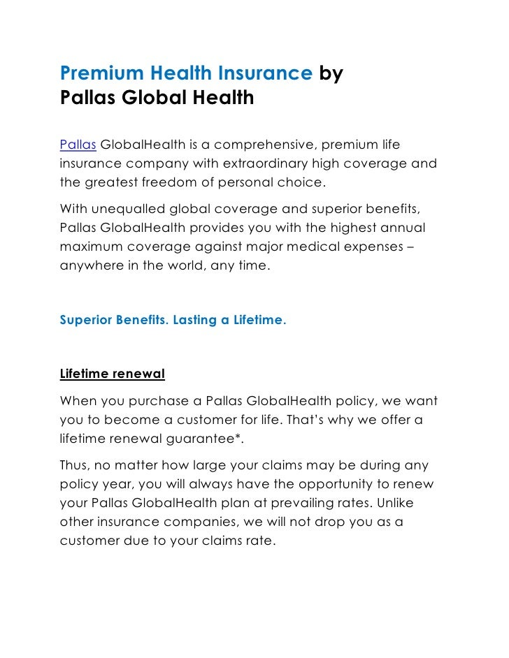 Premium Health Insurance by <br />Pallas Global Health<br />Pallas GlobalHealth is a comprehensive, premium life insurance...