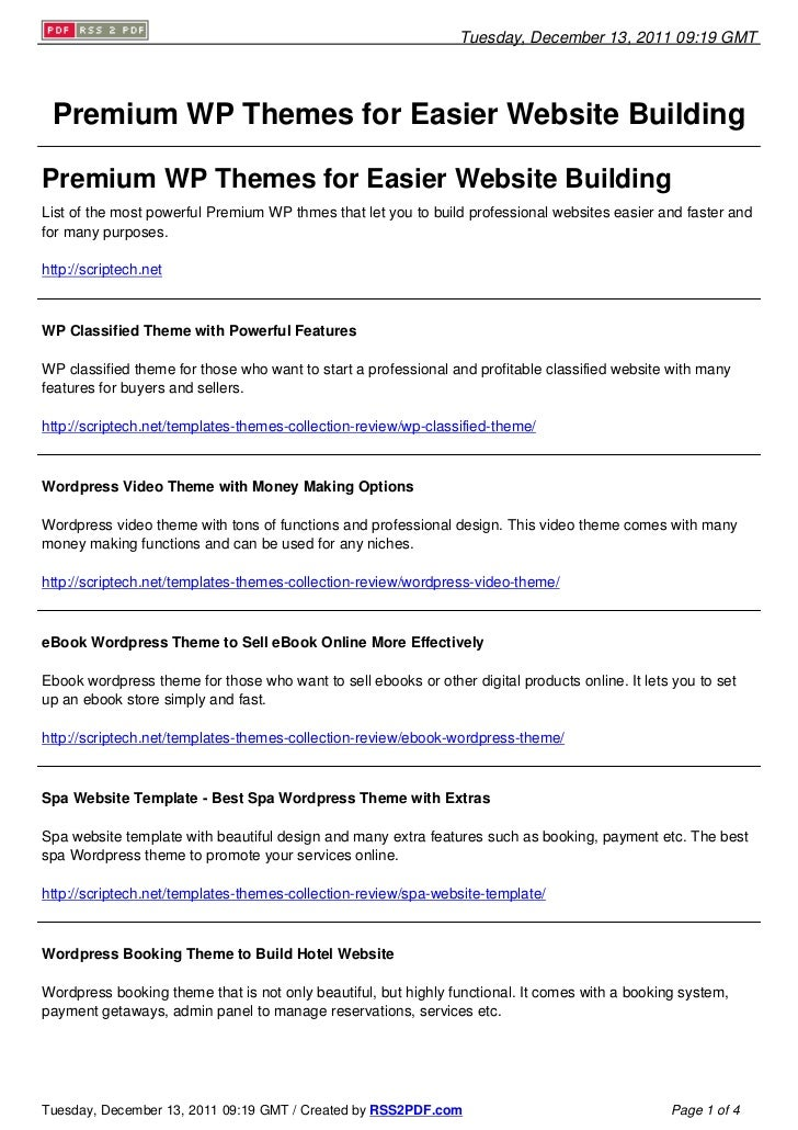 Tuesday, December 13, 2011 09:19 GMT Premium WP Themes for Easier Website BuildingPremium WP Themes for Easier Website Bui...