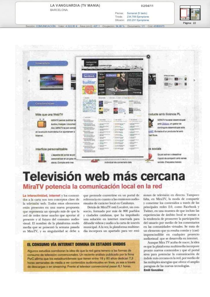 LA VANGUARDIA (TV MANIA)                                                       02/04/11                 BARCELONA         ...