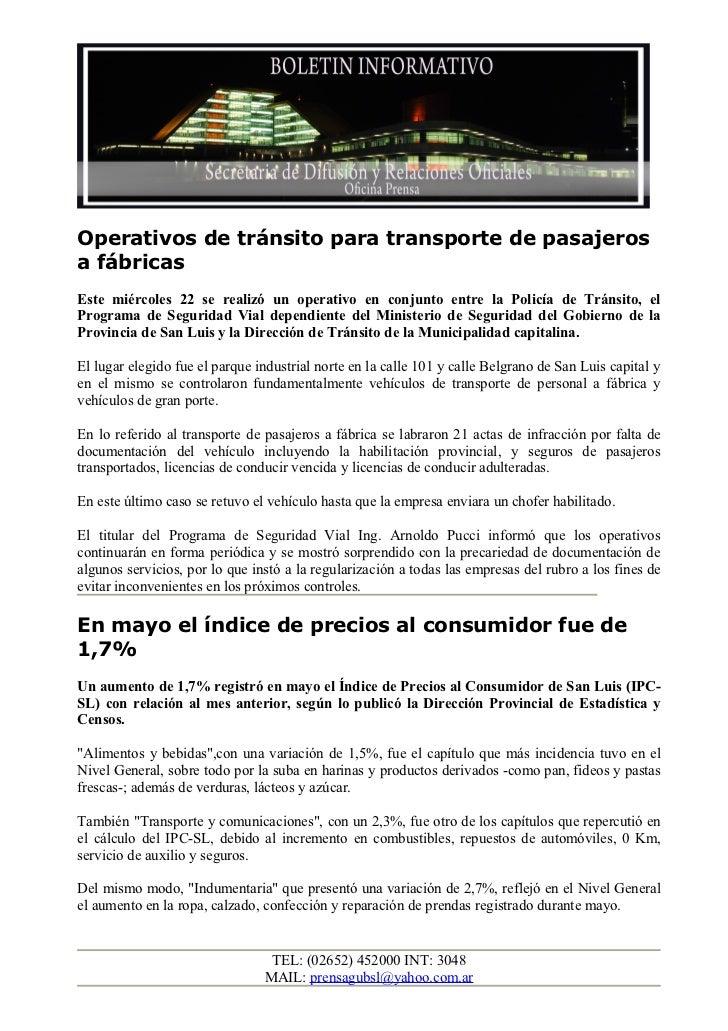 Operativos de tránsito para transporte de pasajerosa fábricasEste miércoles 22 se realizó un operativo en conjunto entre l...