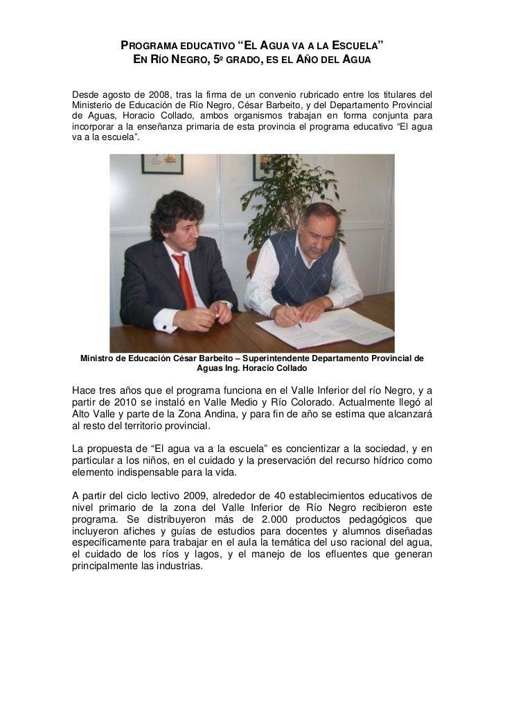 """PROGRAMA EDUCATIVO """"EL AGUA VA A LA ESCUELA""""             EN RÍO NEGRO, 5º GRADO, ES EL AÑO DEL AGUADesde agosto de 2008, t..."""