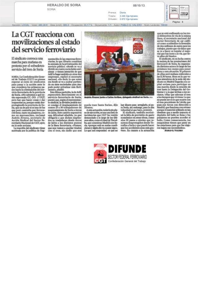 08/10/13HERALDO DE SORIA SORIA Prensa: Diaria Tirada: 3.346 Ejemplares Difusión: 2.872 Ejemplares Página: 8 Sección: LOCAL...