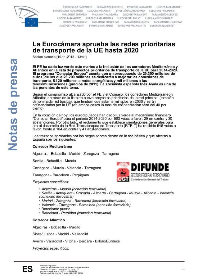 Notas de prensa  La Eurocámara aprueba las redes prioritarias de transporte de la UE hasta 2020 Sesión plenaria [19-11-201...