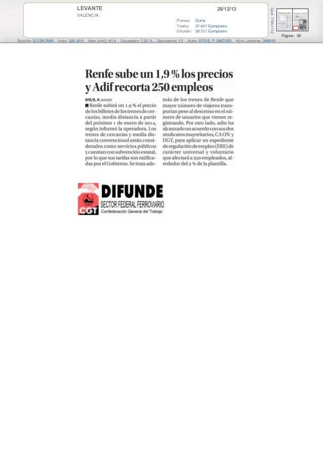 28/12/13  VALENCIA Prensa: Diaria Tirada: 37.407 Ejemplares Difusión: 28.721 Ejemplares  Cód: 77451112  LEVANTE  Página: 3...