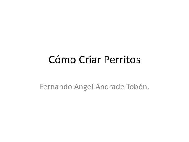 Cómo Criar Perritos Fernando Angel Andrade Tobón.