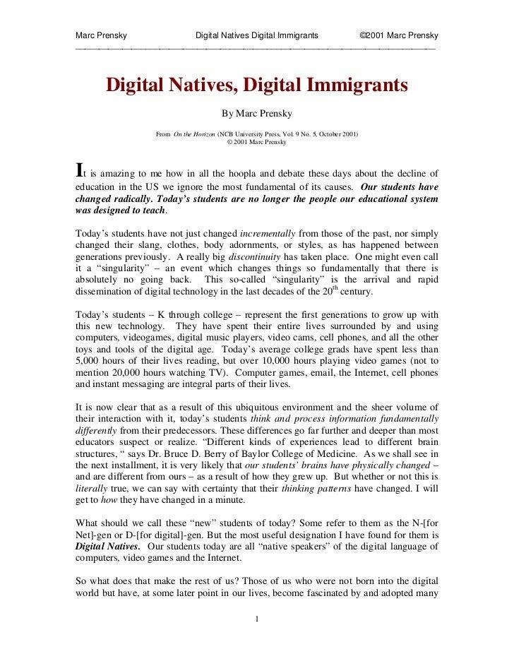 Marc Prensky              Digital Natives Digital Immigrants ©2001 Marc Prensky___________________________________________...
