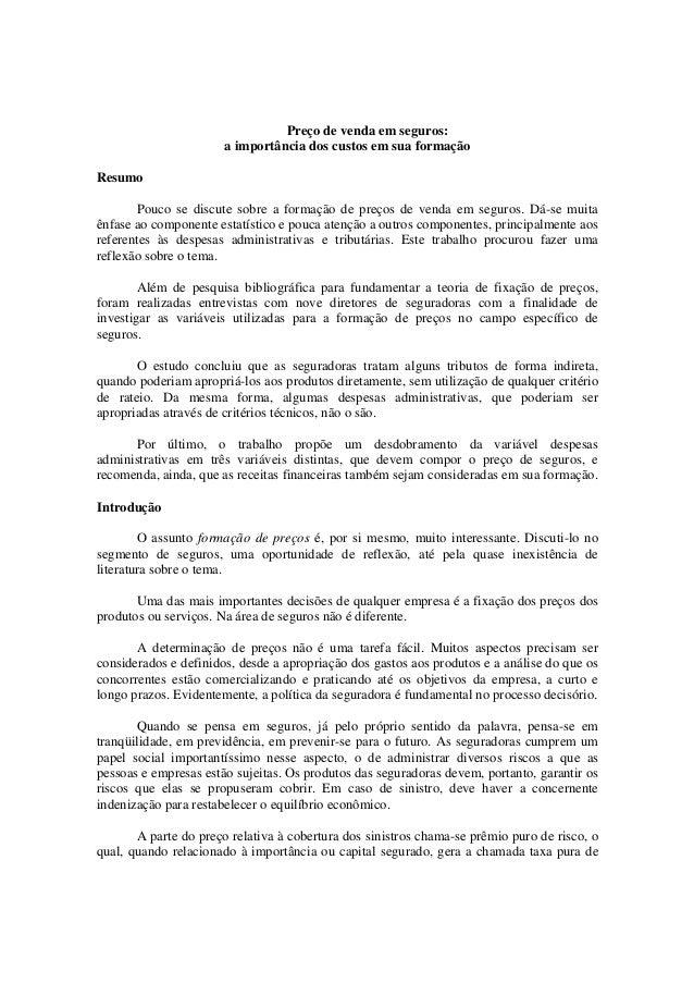 Preço de venda em seguros   ac. olivio luccas - academia nacional de seguros