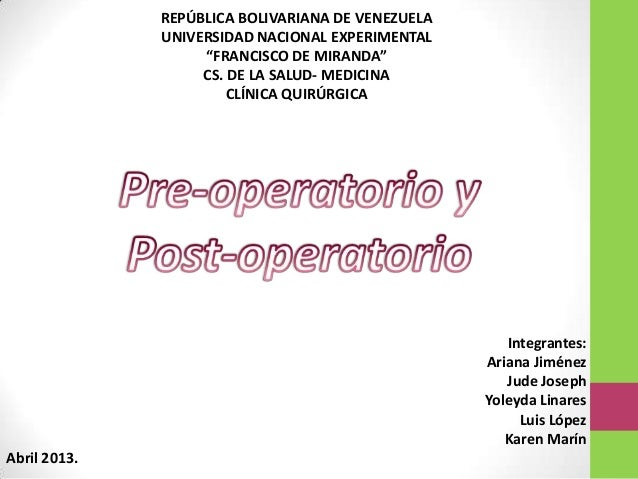 "REPÚBLICA BOLIVARIANA DE VENEZUELAUNIVERSIDAD NACIONAL EXPERIMENTAL""FRANCISCO DE MIRANDA""CS. DE LA SALUD- MEDICINACLÍNICA ..."