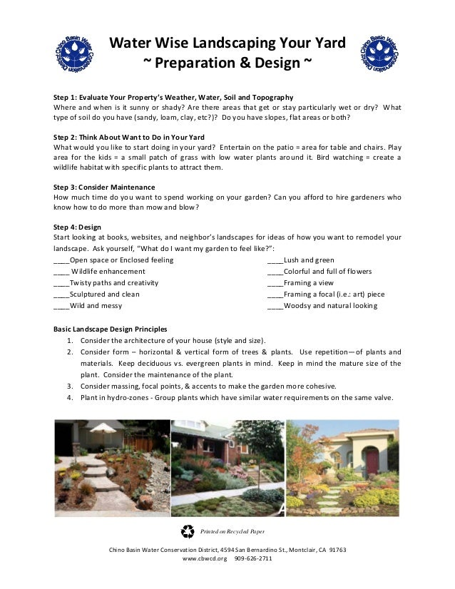 Water Wise Landscaping Your Yard: Preparation and Design - Chino, California