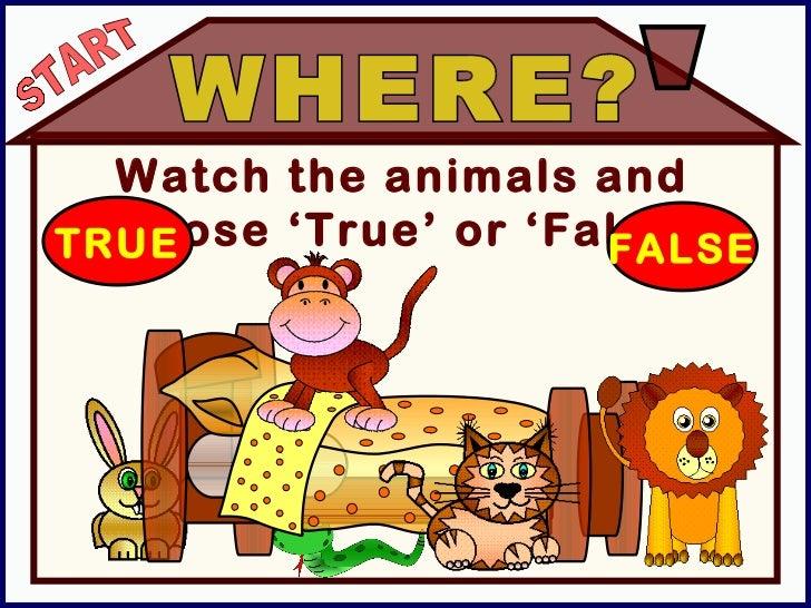 Watch the animals and choose 'True' or 'False'. WHERE? TRUE FALSE START