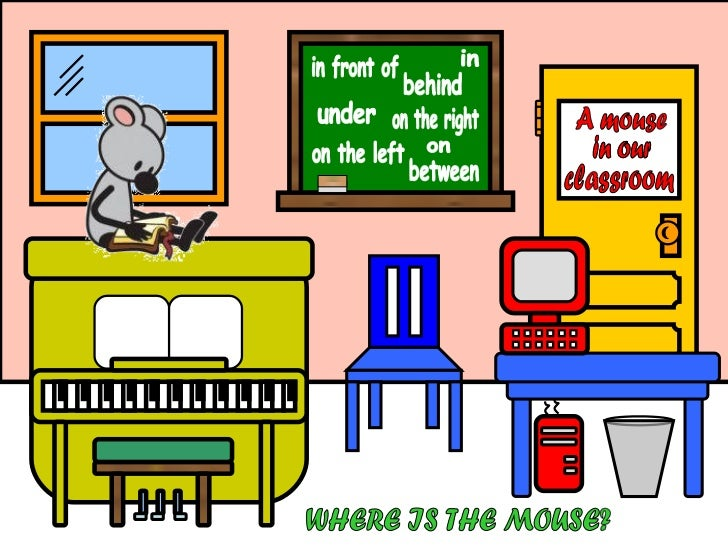 A mouse in our classroom under behind between on the right on the left in on in front of in our WHERE IS THE MOUSE?