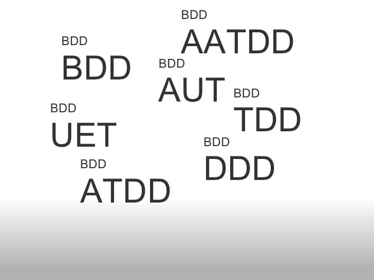BDD BDD BDD TDD BDD ATDD BDD AATDD BDD DDD BDD AUT BDD UET