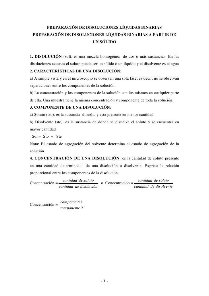 PREPARACIÓN DE DISOLUCIONES LÍQUIDAS BINARIAS PREPARACIÓN DE DISOLUCIONES LÍQUIDAS BINARIAS A PARTIR DE                   ...