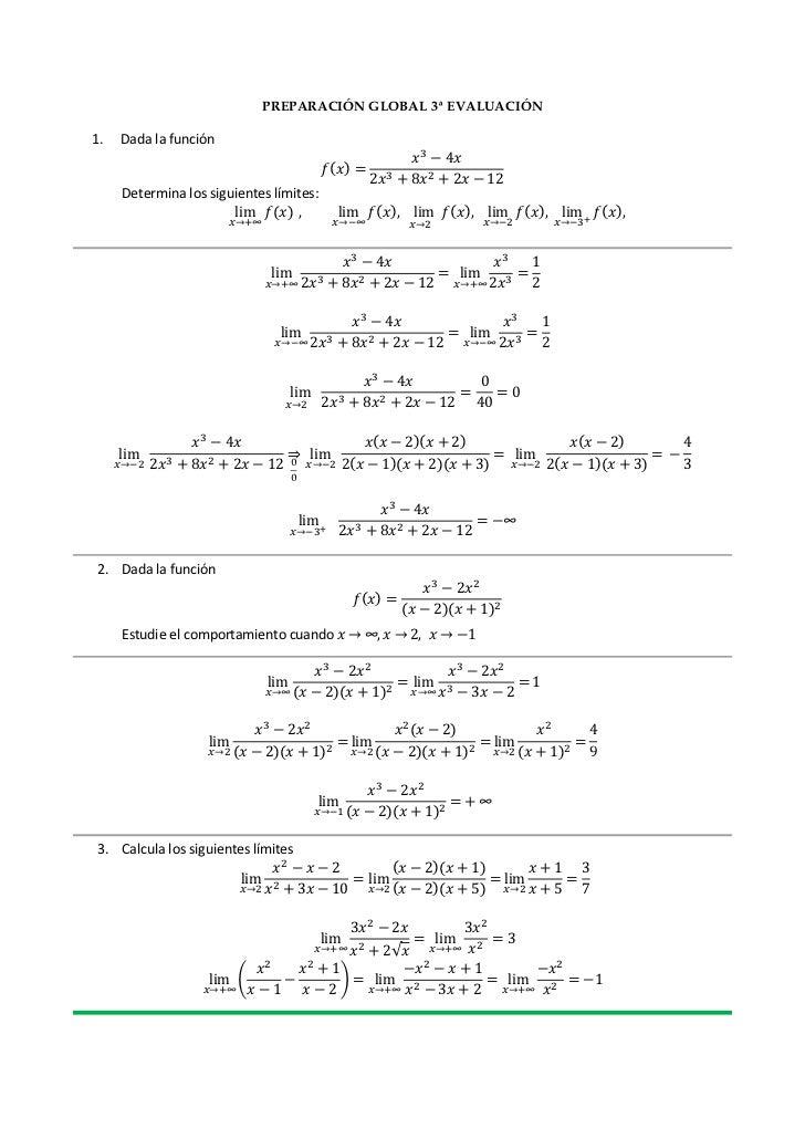 PREPARACIÓN GLOBAL 3ª EVALUACIÓN1.   Dada la función     Determina los siguientes límites:2. Dada la función     Estudie e...
