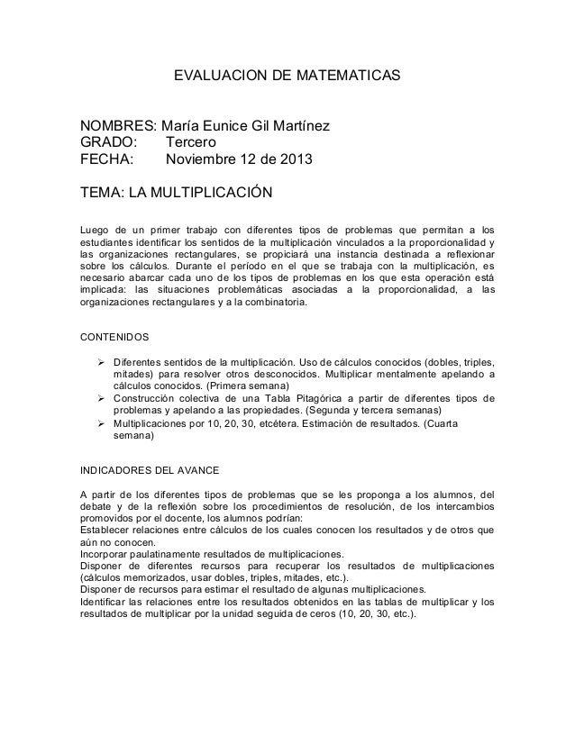 EVALUACION DE MATEMATICAS NOMBRES: María Eunice Gil Martínez GRADO: Tercero FECHA: Noviembre 12 de 2013 TEMA: LA MULTIPLIC...