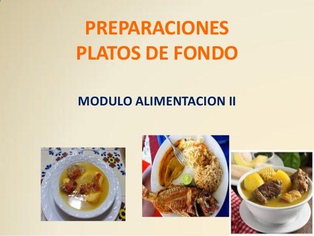 PREPARACIONES PLATOS DE FONDO MODULO ALIMENTACION II