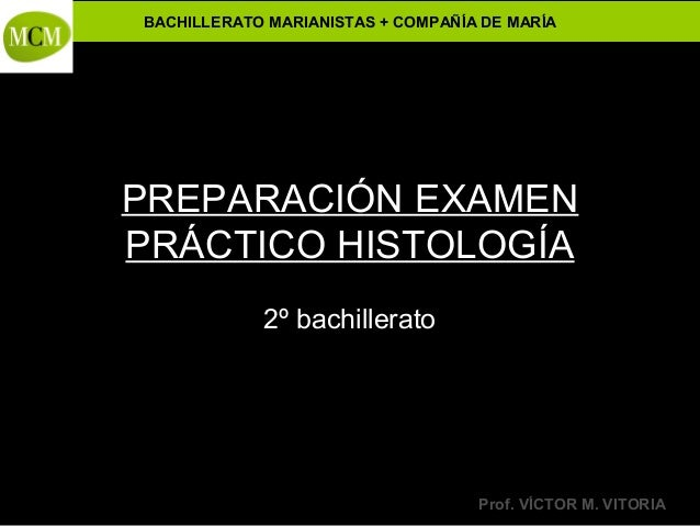 BACHILLERATO MARIANISTAS + COMPAÑÍA DE MARÍA  PREPARACIÓN EXAMEN PRÁCTICO HISTOLOGÍA  Anatomía y Fisiología Humanas -  2º ...