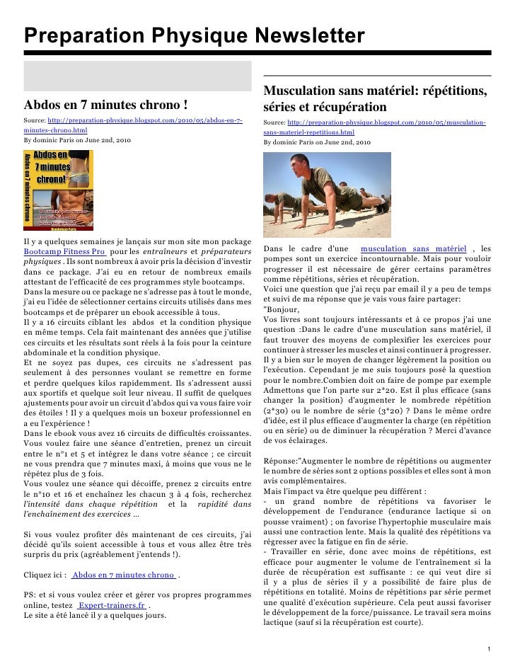 Preparation Physique Newsletter                                                                         Musculation sans m...