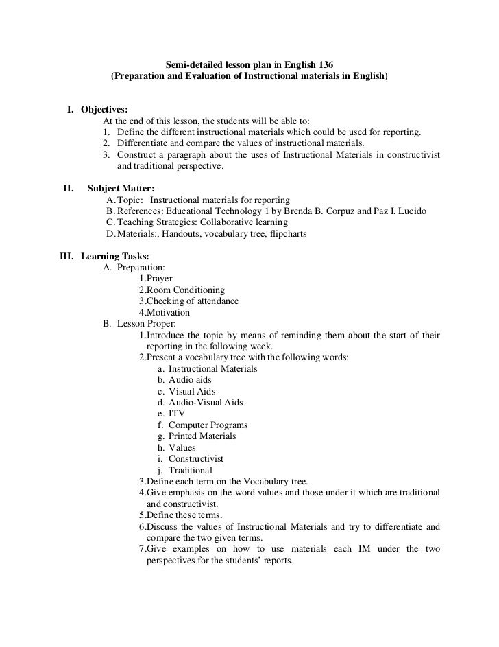 High School Lesson Plan Examples Lesson Plans For High School