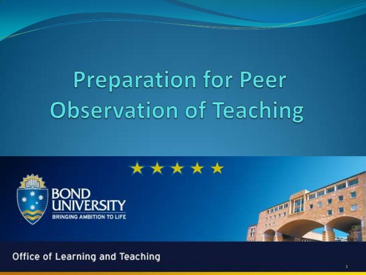 Preparation for peer observation of teaching