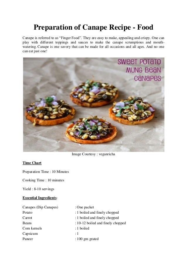 Preparation of canape recipe for Hot canape ideas
