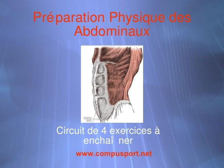 Préparation Physique des Abdominaux Circuit de 4 exercices à encha îner www. compusport .net