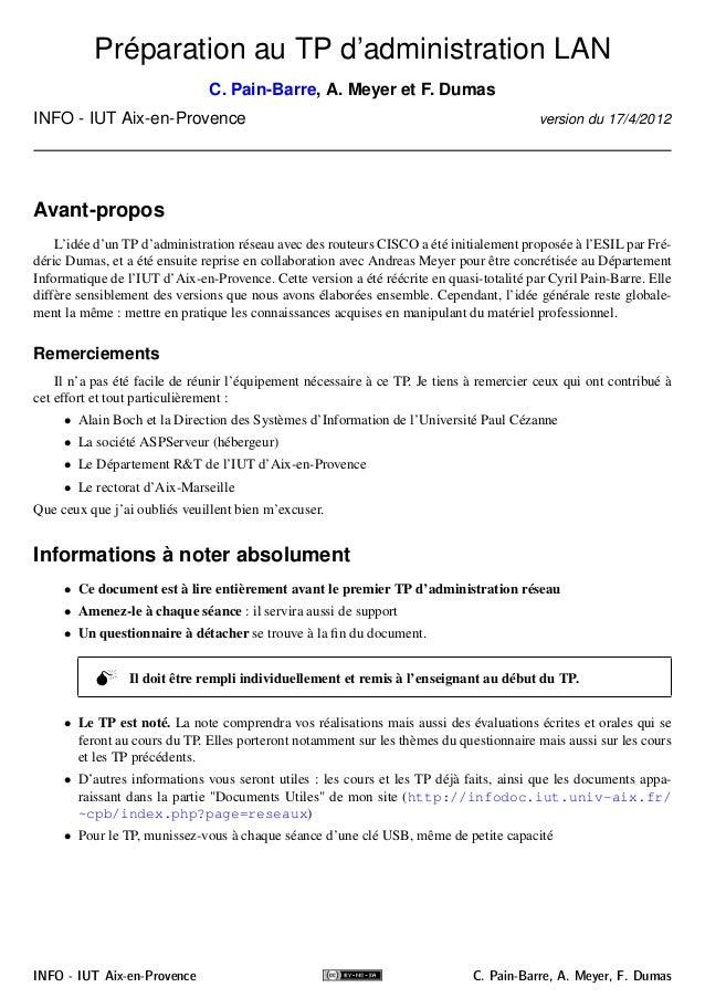 Préparation au TP d'administration LAN  C. Pain-Barre, A. Meyer et F. Dumas  INFO - IUT Aix-en-Provence version du 17/4/20...