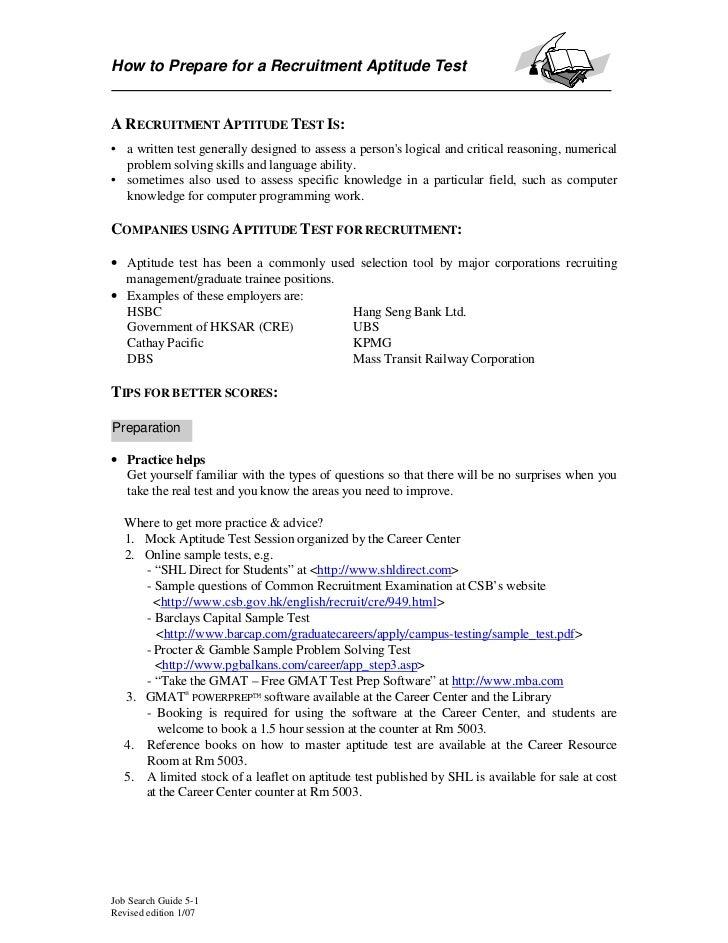 How to Prepare for a Recruitment Aptitude TestA RECRUITMENT APTITUDE TEST IS:• a written test generally designed to assess...