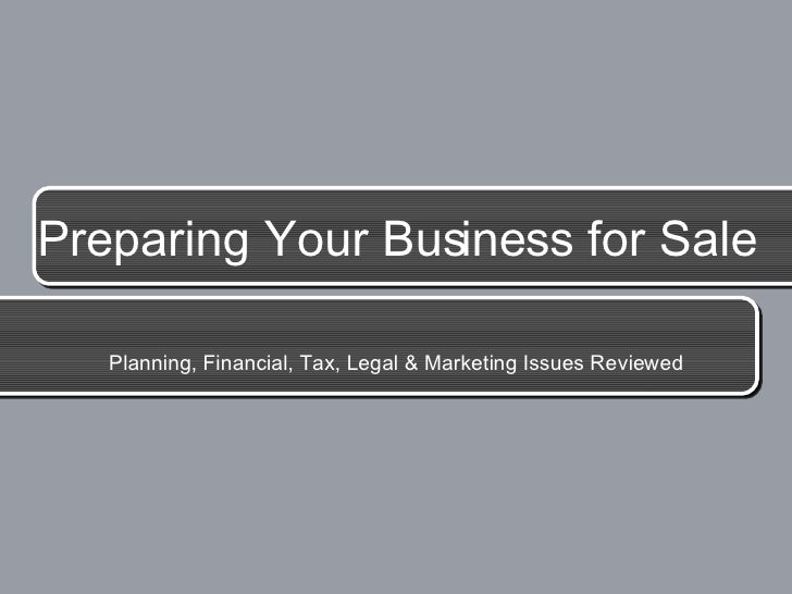 Preparing Your Business for Sale