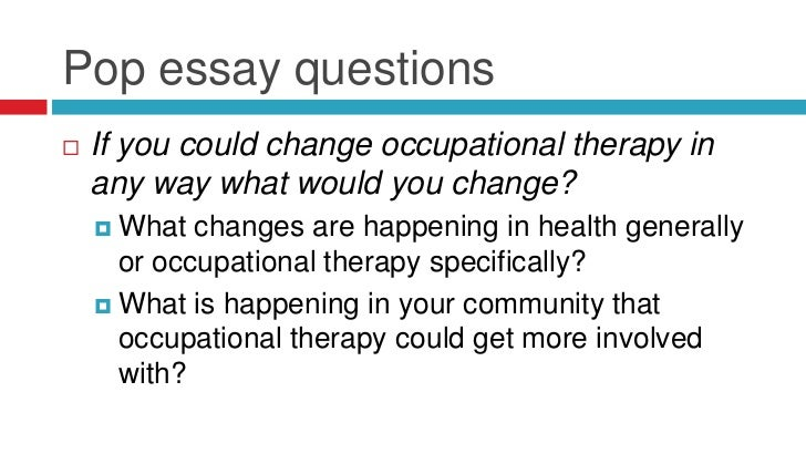 occupational therapist essay