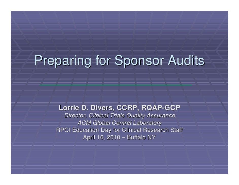 Preparing For Sponsor Audits Rpci 4 10